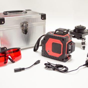 Комплект поставки лазерного уровня 2D с красным лучом фото