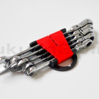 Набор ключей рожково-накидных ключей с трещоткой и шарниром