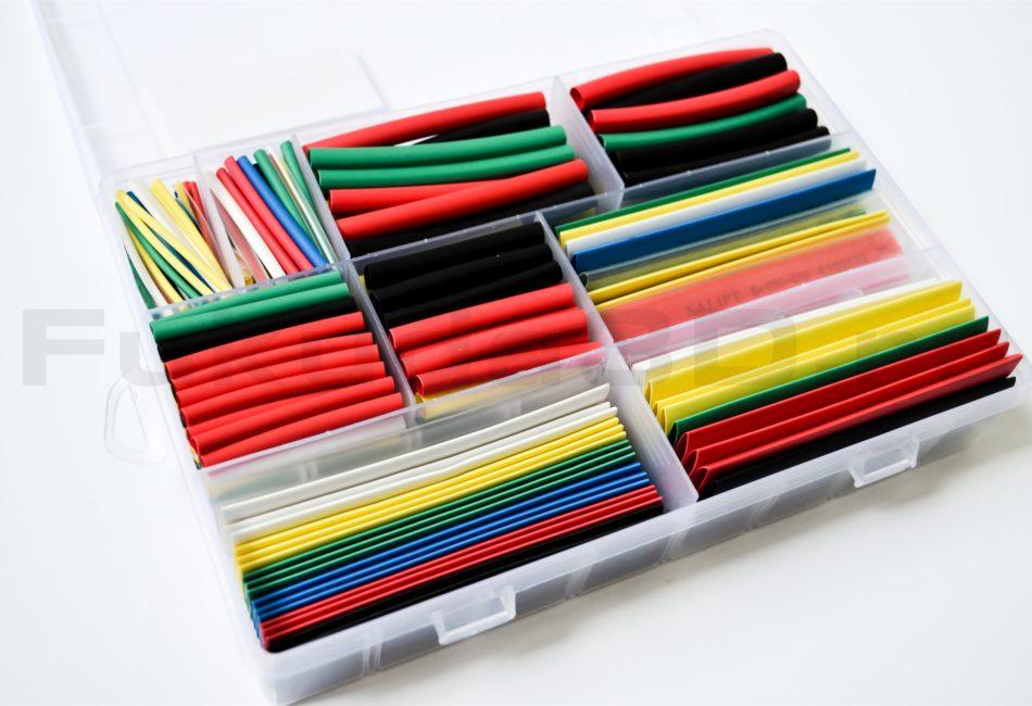Набор термоусадочных трубок ассорти, различных цветов и размеров в кейсе