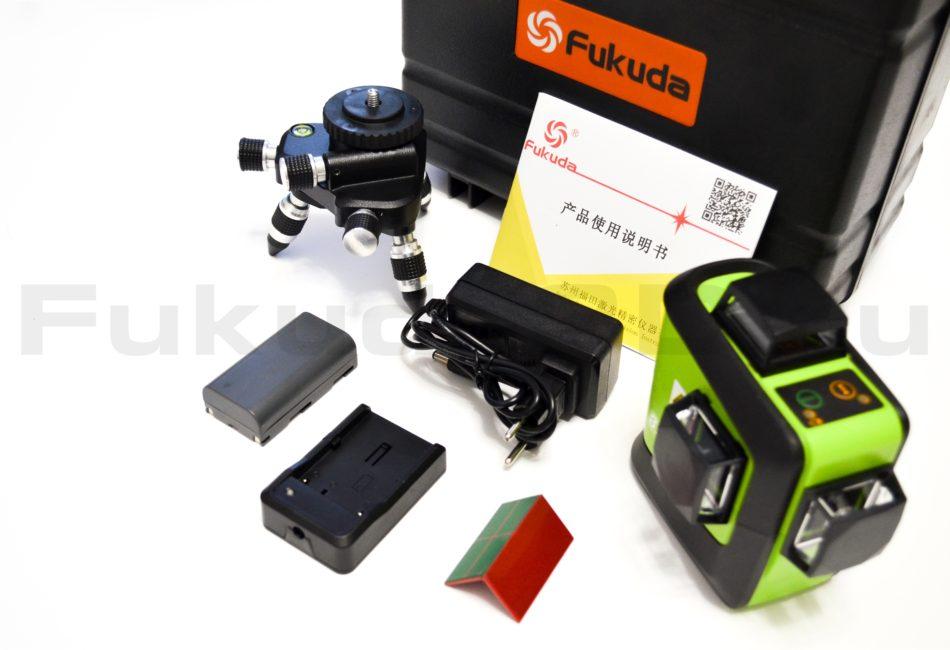 Лазерный нивелир Fukuda 3D с зеленым лучом и работой от сети