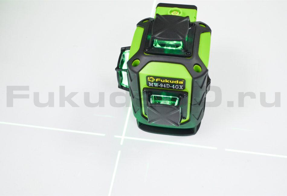 Купить лазерный уровень Fukuda 4D модель MW-94D-4GX (16 линий) с яркими зелеными линиями