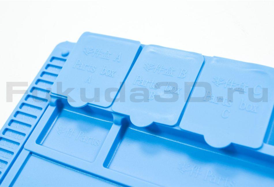 Термостойкий силиконовый коврик для пайки - отсеки с крышками